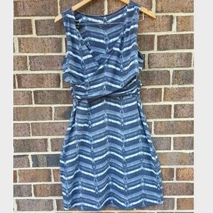 Athleta Dress Watercolor Horizontal Stripes Knee